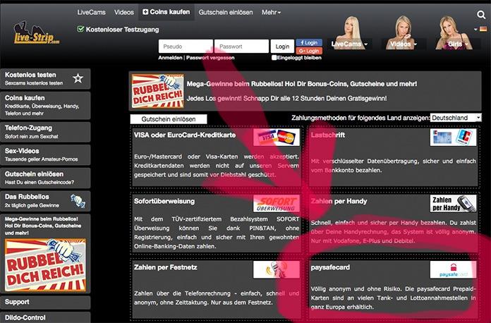 Paysafecard auf Livestrip.com einsetzen